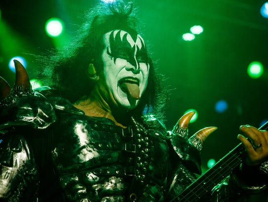 Gene Simmons of KISS performs at the Iowa State Fair