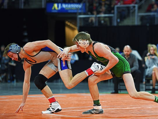 After squaring off in last year's 120-pound championship match, Pierre's William Turman (right) and Rapid City Stevens' Cody BeVier are the top two seeds at 126 entering this year's state tournament.