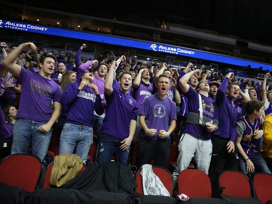 Indianola fans cheer during halftime. Indianola lost