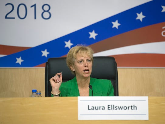 Laura Ellsworth answers a question during a forum in Harrisburg on April 16, 2018.