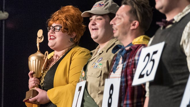 """Karen Burley, left, and others rehearse for Encore Theatre's production of """"The 25th Annual Putnam County Spelling Bee"""" on Monday, January 22, 2018."""