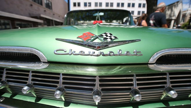 A classic Chevy is parked on the square during the Route 66 festival in downtown Springfield on August 13, 2016.