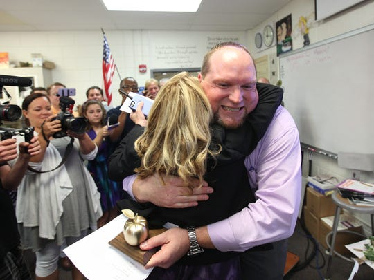 Cypress Lake High School language arts teacher,  Christian Lin Zimmerman is a 2016 Golden Apple winner.