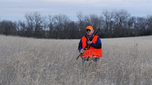 Argus Leader Media columnist Stu Whitney walks through a field while pheasant hunting near Mitchell. It was his first hunt.