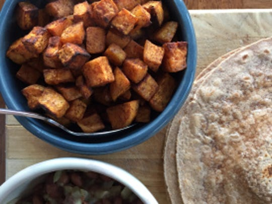 Cook up the sweet potato and the beans and let diners