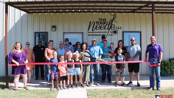 The Stephenville Chamber of Commerce celebrated new member The Funky Needle with a Ribbon Cutting ceremony. The Funky Needle is a family-owned business that offers personalized embroidery and laser engraving with a great selection of custom promotional products to choose from including hats, tumblers, cutting boards, leather patches and more! Owner, Justin Wilson strives to provide great customer service and describes The Funky Needle as a one stop shop for screen-printing and embroidery needs!