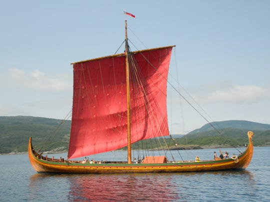 The Draken Harald Hafagre, a Viking longboat equipped with sails and oar stations