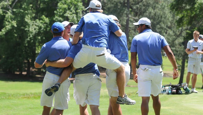 Louisiana Tech's golf team celebrates after winning the 2016 Conference USA Championship with a 3-2 upset over No. 38 UAB. It marked the school's first conference championship in golf since 1980.