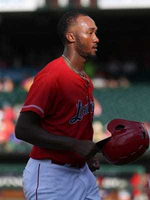 The Bats' Amir Garrett (25) heads to the dugout after being forced out at second against Lehigh Valley at Slugger Field on Sunday, July 24, 2016.
