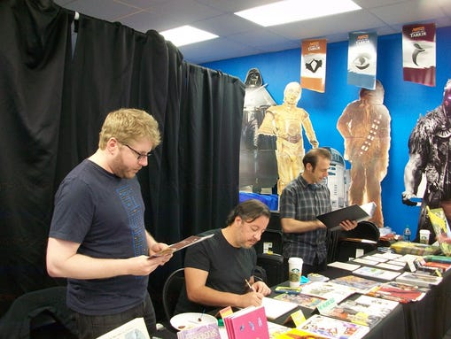 At The Comic Book Shop! Saturday (from left):  Josh