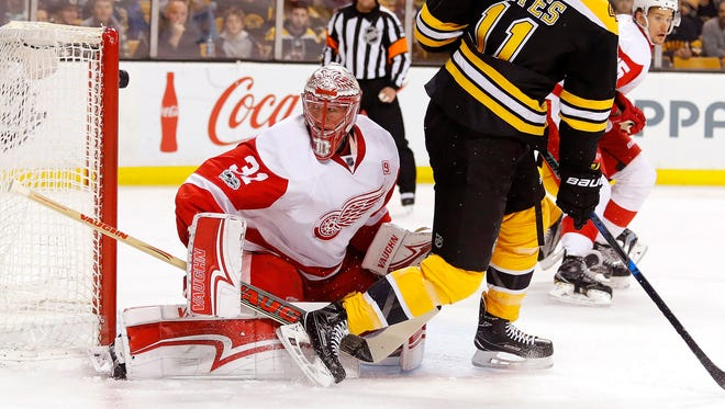 Detroit Red Wings goalie Jared Coreau (31) plays against the Boston Bruins on Jan. 24, 2017.