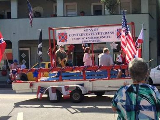 This float, sponsored by the Sons of Confederate Veterans