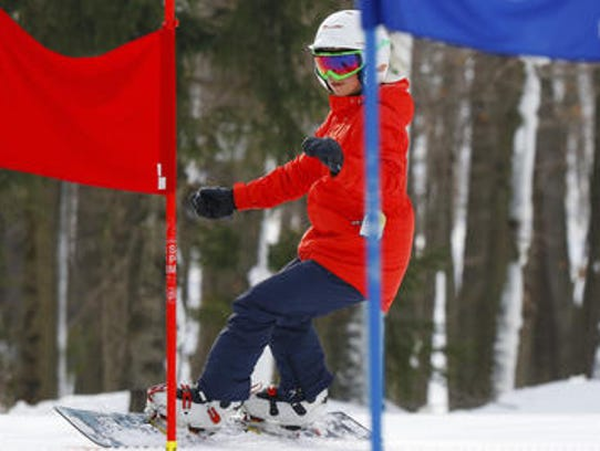 Snowboarder Daina Shilts, 27, Neillsville, practices