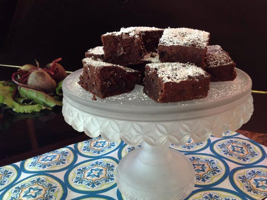 Dark Chocolate Beet Brownies need just a dusting of powdered sugar.