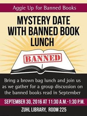 Poster for Mystery Date with Banned Book Lunch event from 11:30 a.m. to 1:30 p.m. Sept. 30 at the Zuhl Library, Room 225.