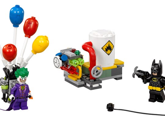LEGO Joker is a pesky one with his hot air balloon and explosive device.