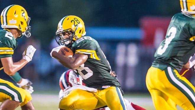 Cecilia running back Adonis Singleton (28) and the Bulldogs had high hopes going into the 2017 season, but are off to an 0-2 start.