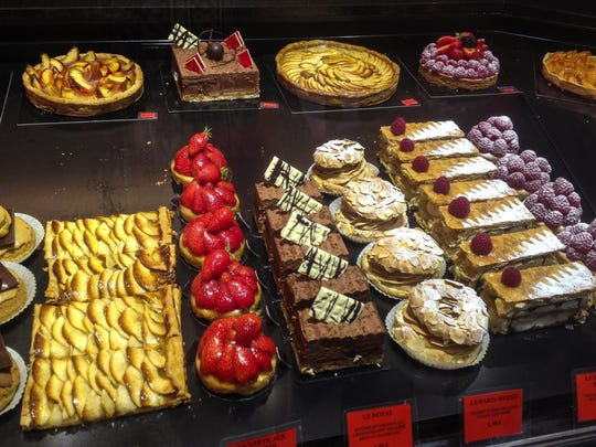 Tarts, cakes and other sweets at a patisserie in Paris.