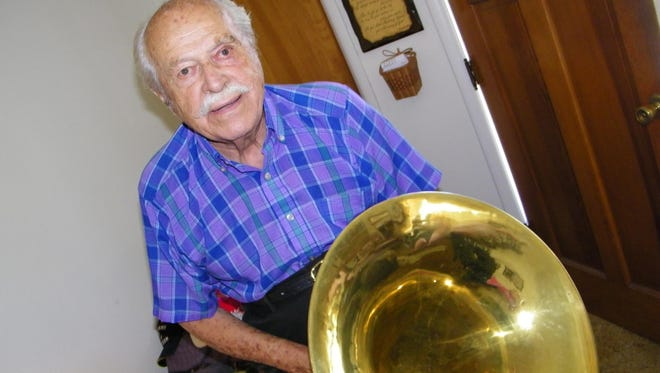 Dale Shimer, 88, played in the U.S. Army Concert Band during World War II, qne continued on in local bands after the war. Today, still plays in the North Coast Concert Band and Genoa American Legion Band.