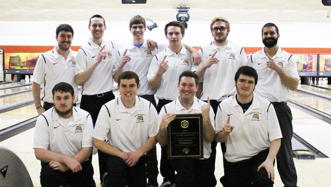 The MCCAA/Region XII champion Schoolcraft men's bowling team includes (front row, from left) Ben Jakes, Eric Deyonker, Sam Berger and Jason Bley; (back row, from left) assistant coach Ben Berger, Drew Garrison, Sean McKinney, Andrew Gury, Kacey Brezovsky and head coach Patrick Yelsik.