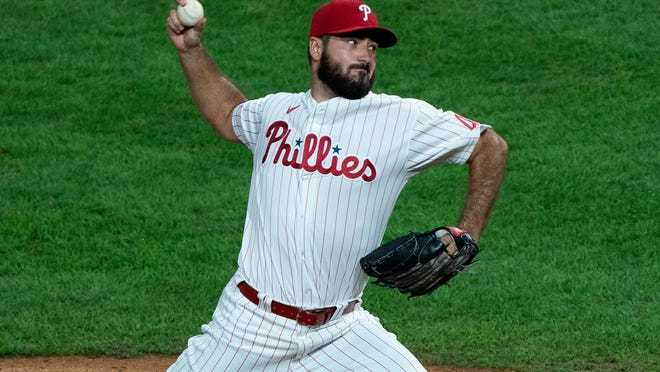 Phillies relief pitcher Brandon Workman delivers during the ninth inning against the Nationals on Aug. 31.