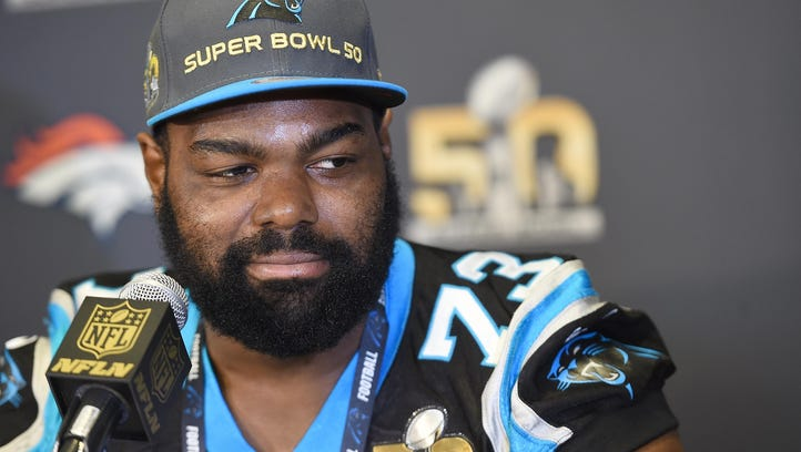 Panthers tackle Michael Oher addresses the media prior to Super Bowl 50 on Tuesday at the San Jose Convention Center/San Jose Marriott.
