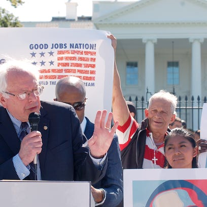 Sen. Bernie Sanders, I-VT, speaks at a rally in September,