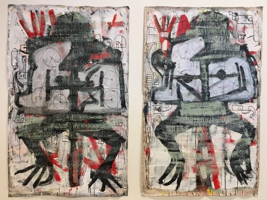 """""""Untitled Frog with Rabbit Paintings"""" from 2018 by Michael Luchs, at MOCAD through July 29."""