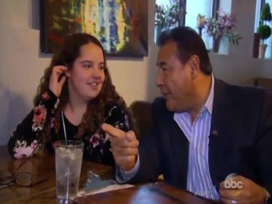 "Rory Nicole Olgden and TV host John Quinones from ABC's ""What Would You Do?"""