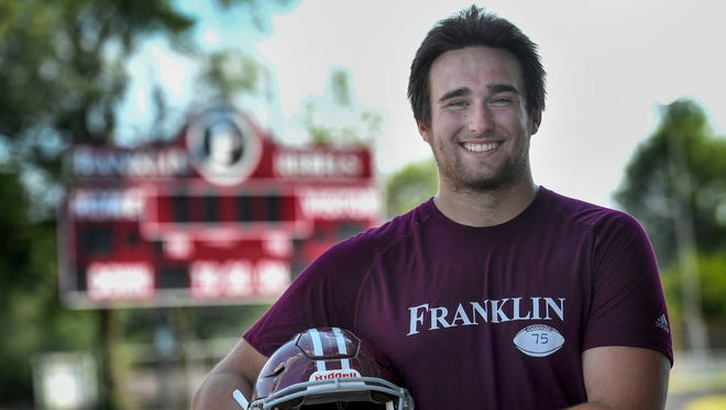 Franklin High School offensive lineman Max Wray poses for a portrait at Franklin High School in Franklin, Tenn., Tuesday, July 11, 2017.