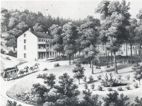 Edward Beyer's 1858 painting of Stribling Springs. Visitors in 1858 could expect to pay $2 a day for a stay of less than a week.