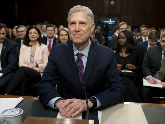 Neil Gorsuch appears before the Senate Judiciary Committee hearing on his nomination to be an associate justice of the Supreme Court on Capitol Hill in Washington, DC, on March 21, 2017.