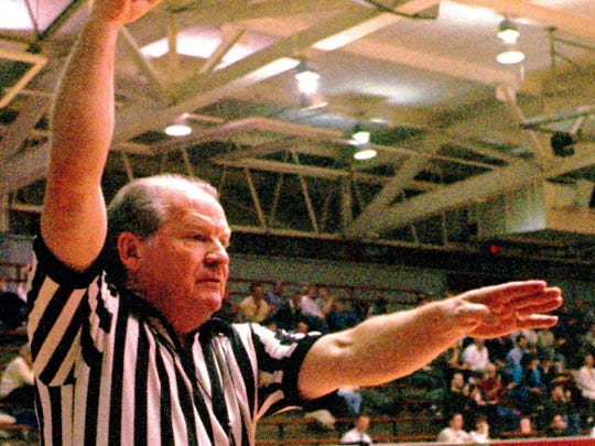 Billy Haynes calls a foul during a game in Indianapolis.