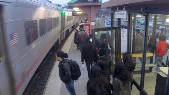 New Jersey Transit riders at the Nanuet train station.