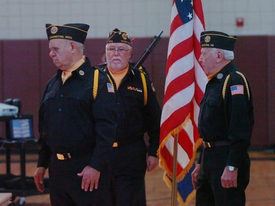 The Wixom Ceremonial Team, members of the American Legion and VRW, were on hand to present the colors.