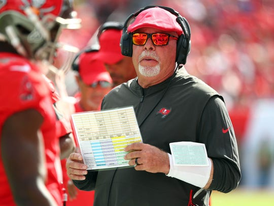 Dec 8, 2019; Tampa, FL, USA; Tampa Bay Buccaneers head coach Bruce Arians during the first half at Raymond James Stadium. Mandatory Credit: Kim Klement-USA TODAY Sports