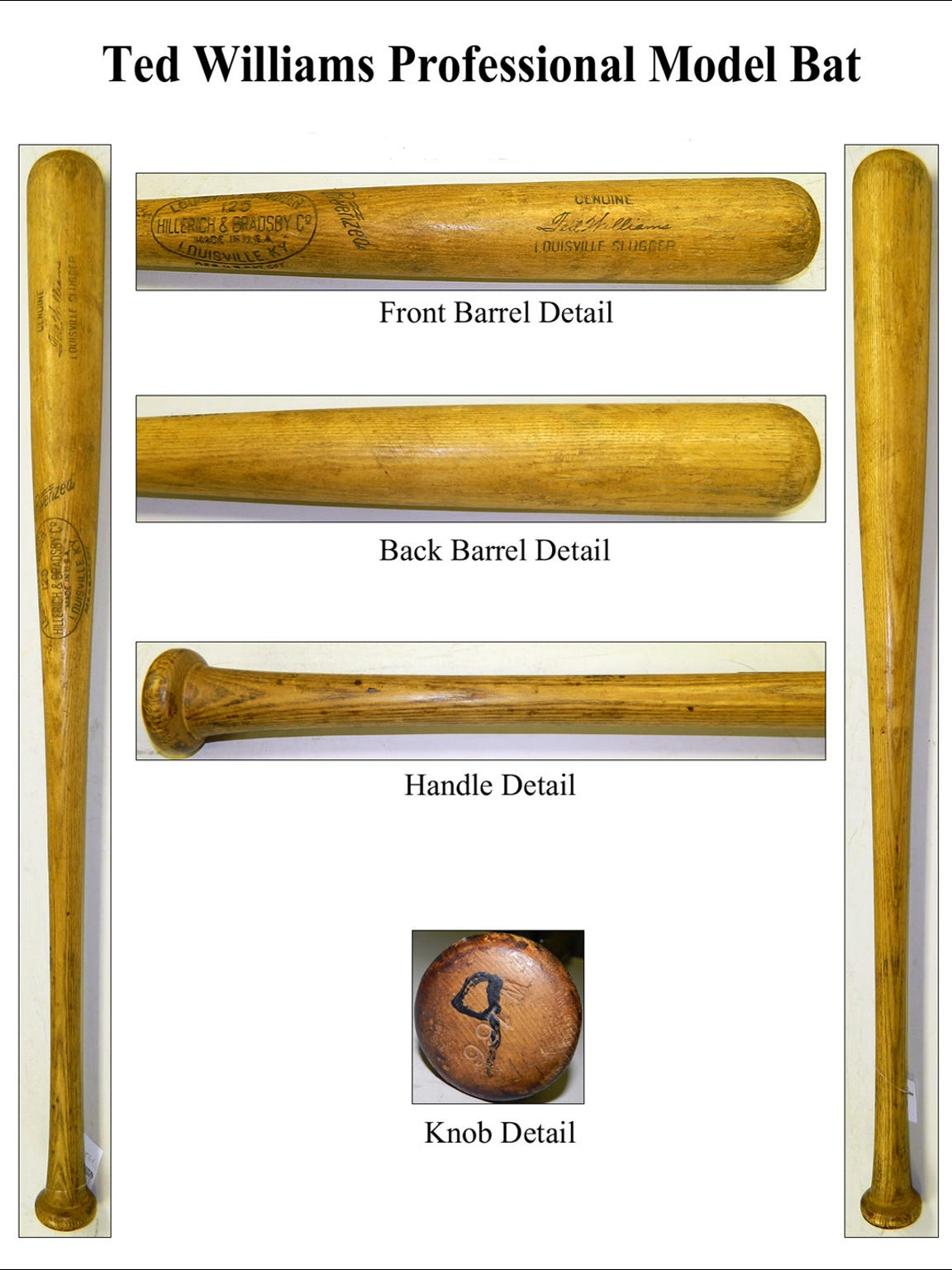 A baseball bat model used by Ted Williams similar to