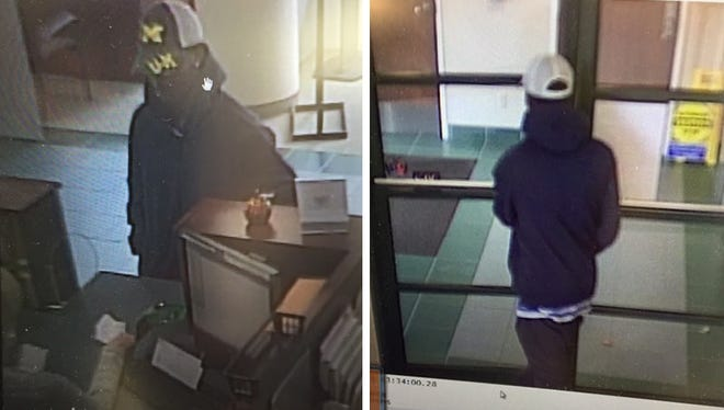 Security images of the suspect wanted in the robbery of the Talmer Bank and Trust in Mt. Clemens on Nov. 19, 2015.
