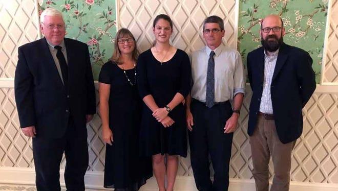 Pictured from left to right are Henry Spaulding, MVNU president; Carol Brubaker; Grace Brubaker; John Brubaker; and Dr. Brett Wiley, honors program director.