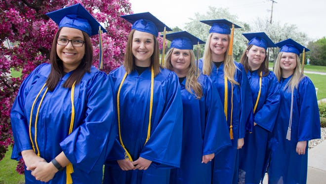 Pictured, from left, are Jessica Lillback, West Bend; Michelle Schuler, Lomira; Jaclyn Lochen, West Bend; Danielle Shady, Oakfield; Jacy Georgenson, West Bend; and Ashley Kane, Juneau. All took part in Moraine Park Technical College's 2016 Commencement Ceremony on May 21. All six are graduates of the College's Respiratory Therapy program.