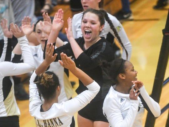 T.L. Hanna senior Maddie Bryant celebrates winning