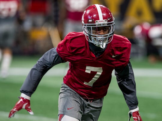 Alabama defensive back Trevon Diggs during a practice for January's national championship game.