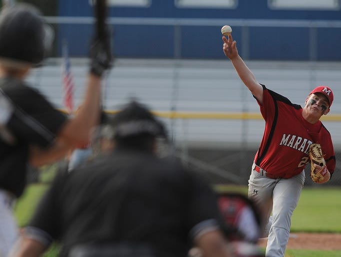Marathon pitcher Karter Underwood throws against Waupun's Gabe Wardin during the Class A State Baseball Tournament game at Holland Field in Nekoosa, Wednesday, July 30, 2014.