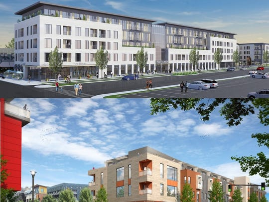 Morgan/Christa (top) and DHD Ventures (bottom) offered competing proposals for the Inner Loop parcel north of East Avenue. Mayor Lovely Warren picked Morgan Christa's plan.