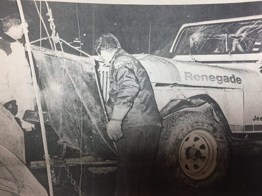 This 1979 Jeep driven by Edward L. Pogue struck a 1976 Luv truck driven by Billy Utley when a dog ran out in front of Utley and he swerved and lost control of the vehicle.