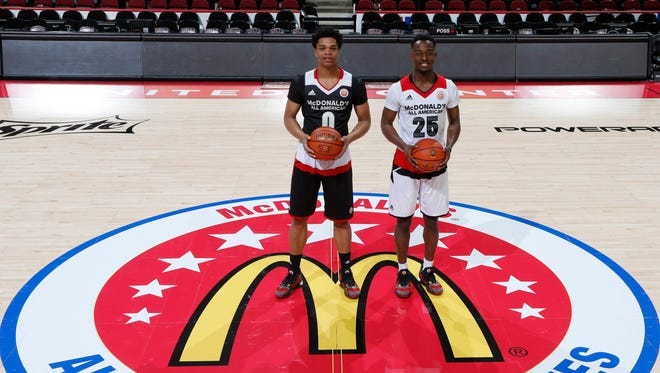 MSU signees Miles Bridges, left, and Joshua Langford before the 2016 McDonald's High School All-American Game at the United Center in Chicago.