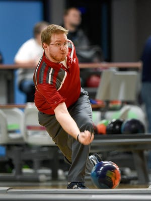 Brady Stearns rolls in the Times-Nahan men's bowling tournament  Thursday, April 4, at the Southway Bowl.