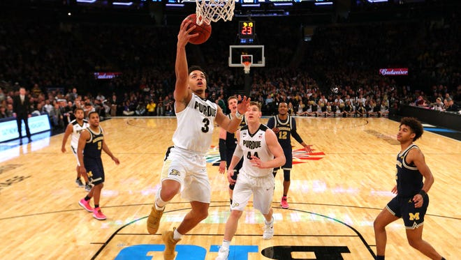 Purdue Boilermakers guard Carsen Edwards (3) drives to the basket Sunday against the Michigan Wolverines during the championship game of the 2018 Big Ten Tournament at Madison Square Garden.