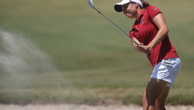 FSU's Amanda Doherty chips from a bunker during the NCAA Women's Golf Regional Championships Wednesday, May 9, 2018.
