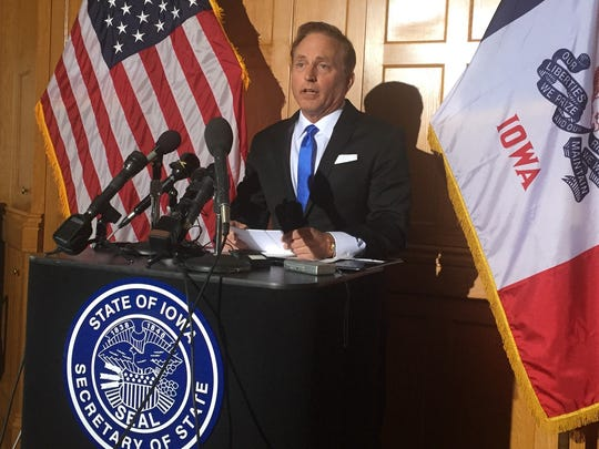 Secretary of State Paul Pate talks with reporters Thursday, Jan. 5, 2017, at the Iowa Capitol in Des Moines, Iowa.